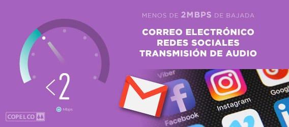 Velocidad menos de 2mbps para correo electrónico, redes sociales y transmisión de audio