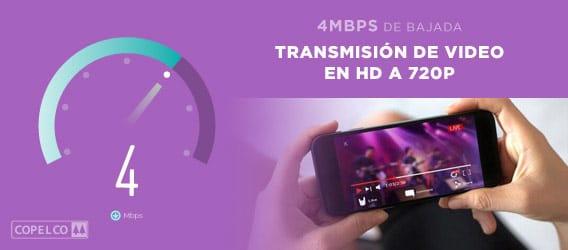 Velocidad de 4mbps para realizar transmisión de video en hd a 720p