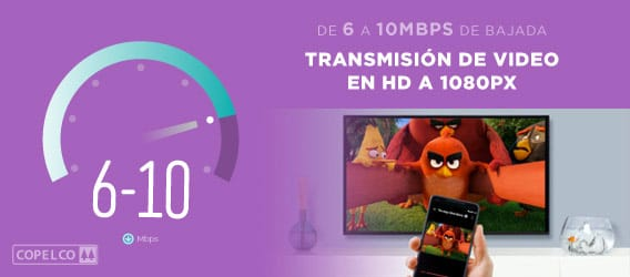 Velocidad de 6 a 10mbps para realizar transmisión de video en hd a 1080p